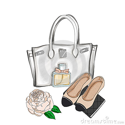 Free Designer Bag And Flat Shoes Stock Image - 65197851
