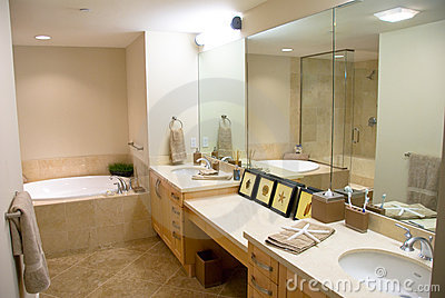 Designer bathroom with a modern tub