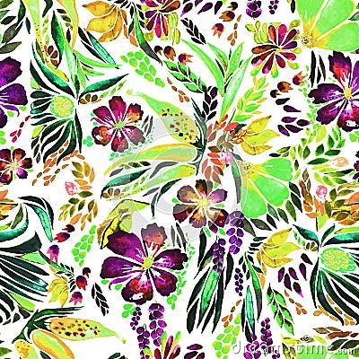 Designer bright floral watercolor pattern Stock Photo