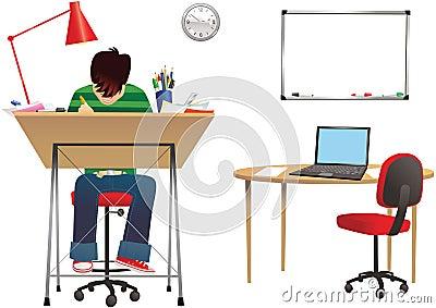 Designer at desk Vector Illustration