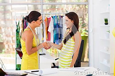 Designer greeting client