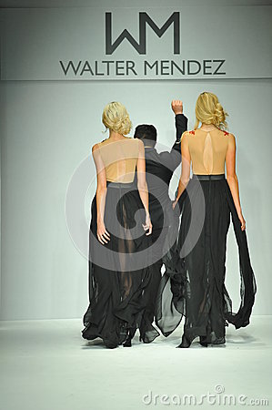 Designer Walter Mendez And Models Walk Runway Editorial