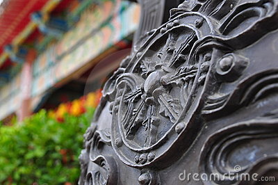 Designs on old sculpture beside temple