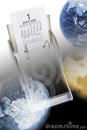 Free Desk Calendar And Globes Royalty Free Stock Image - 9321686