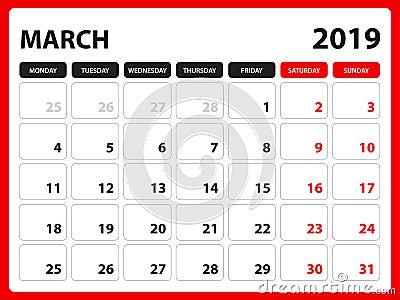 Desk calendar for MARCH 2019 template, Printable calendar, Planner design template, Week starts on Sunday, Stationery design Vector Illustration