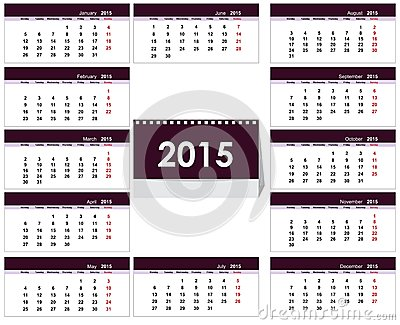 Desk Calendar 2015 Template Stock Vector - Image: 42987148