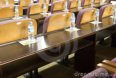Desk and chair in meeting room