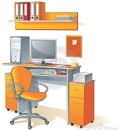 Desk, computer, chair- office