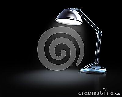 Desk lamp in a dark