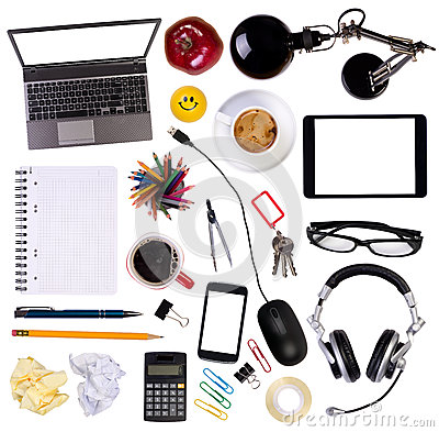Free Desk Objects Top View Royalty Free Stock Photography - 38398887