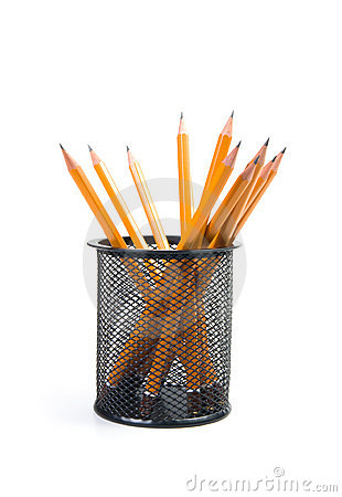 Desk organiser with pencils