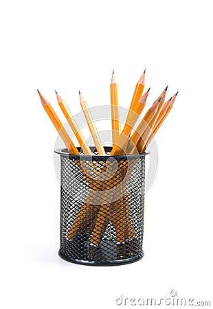 Desk organiser with pencils