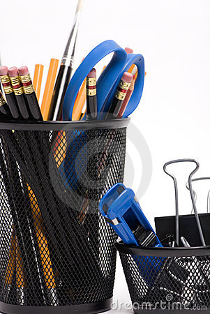 Free Desktop Baskets With Pencils And Clips Royalty Free Stock Photo - 1617495
