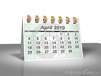 Desktop Calendar (3D). April, 2010.