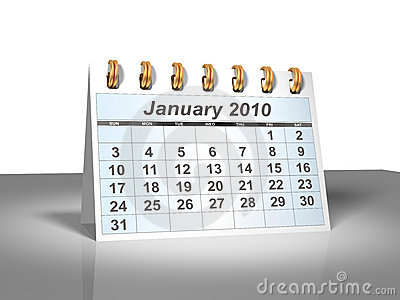 Desktop Calendar (3D). January, 2010.