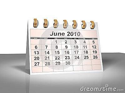 Desktop Calendar (3D). June, 2010.