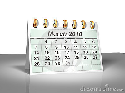 Desktop Calendar (3D). March, 2010.