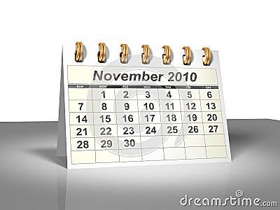 Desktop Calendar (3D). November, 2010.