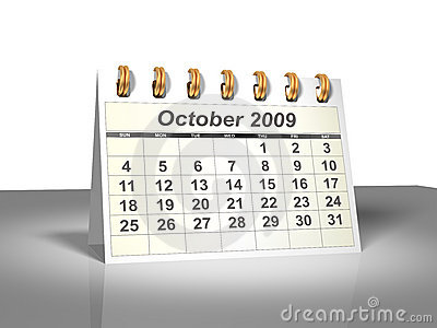 Desktop Calendar (3D). October, 2009.