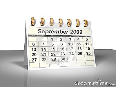 Desktop Calendar (3D). September, 2009.