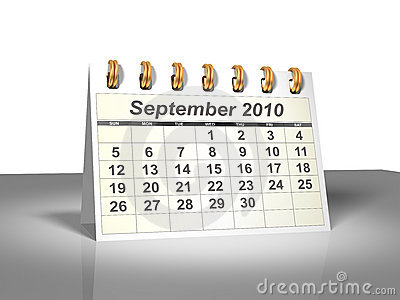 Desktop Calendar (3D). September, 2010.