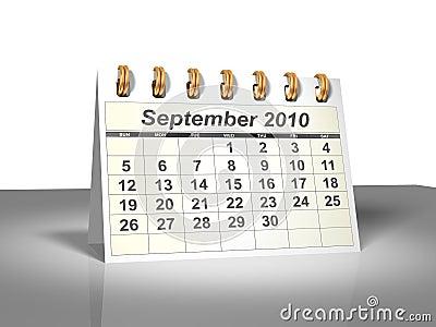 Desktop Calendar (3D). September, 2010.