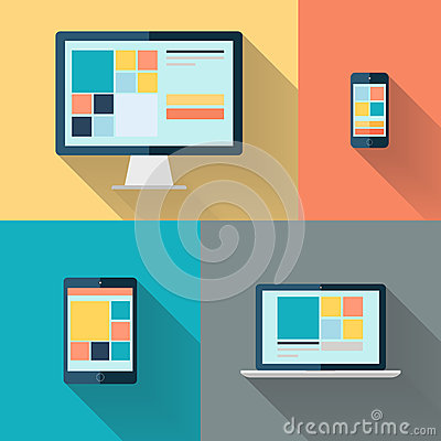 Free Desktop Computer, Laptop, Tablet And Smart Phone On Color Background Vector Illustration. Stock Images - 46790894