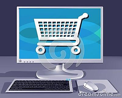 Desktop computer showing Internet shopping