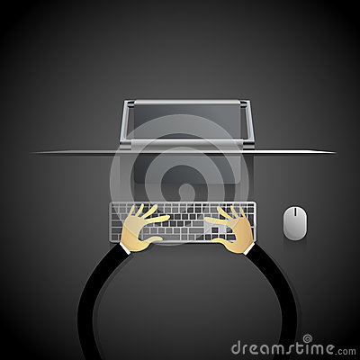 Free Desktop Modern Computer Workstation Hands Typing Keyboard Stock Image - 79683801