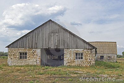 Desolated barn in Ukraine.