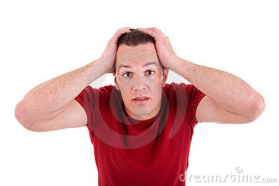 Despair man, with hands on head