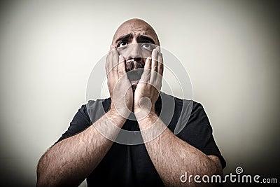 Desperate bearded man
