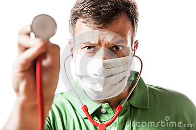 Desperate Doctor with stethoscope