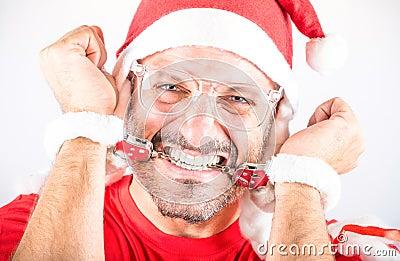 Desperate Handcuffed Santa Man