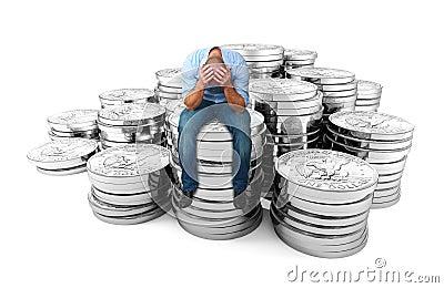 Desperate man on dollar coin