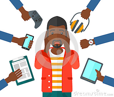 Desperate man with gadgets Vector Illustration