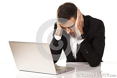 Desperate man on laptop