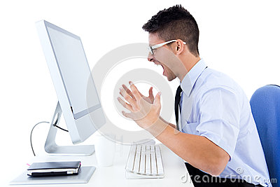 Desperate office worker with computer