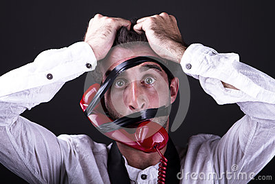 A desperate telephoneman