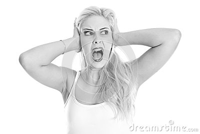 Desperate young woman shouting isolated on white