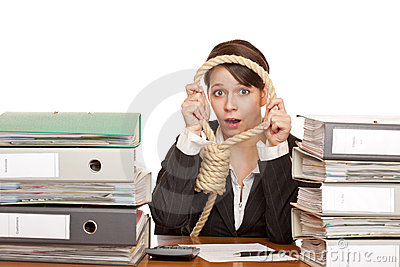 Desperated woman in office look through sling