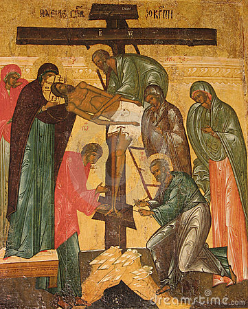 """""""desposition [of jesus] from the cross"""" russian icon"""