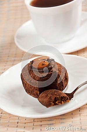 dessert - almond truffles and coffee
