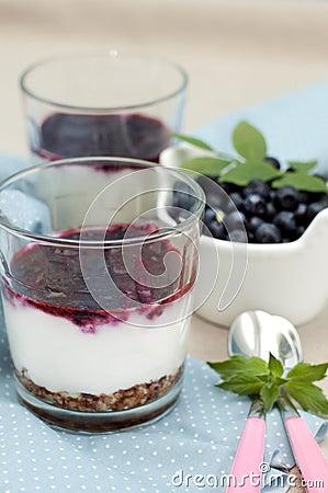 Dessert with blueberry and yogurt