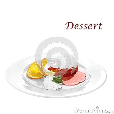 Dessert of cream, orange, and ice-cream on ananas
