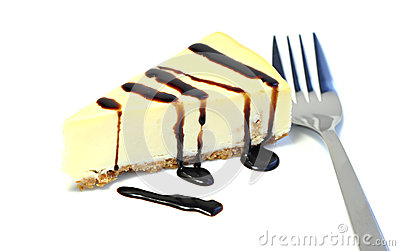 Dessert, delicious cheesecake with chocolate sauce