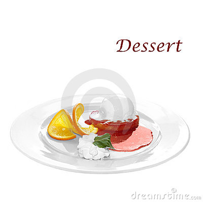 Dessert di crema, dell arancio e del gelato sull ananas