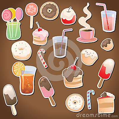 Dessert and drinks on the dark background