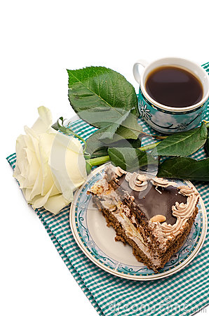 Dessert with flowers and coffee