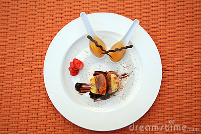 Dessert food on white plate